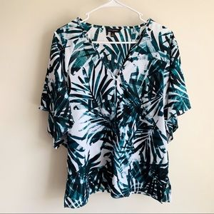 Banana Republic Palm Banana Leave Kimono Blouse